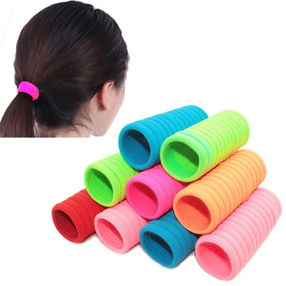 20pcs/lot Fluorescence Colored HairBand Holders Rubber Elastic Hair Bands Girls Hair Accessories