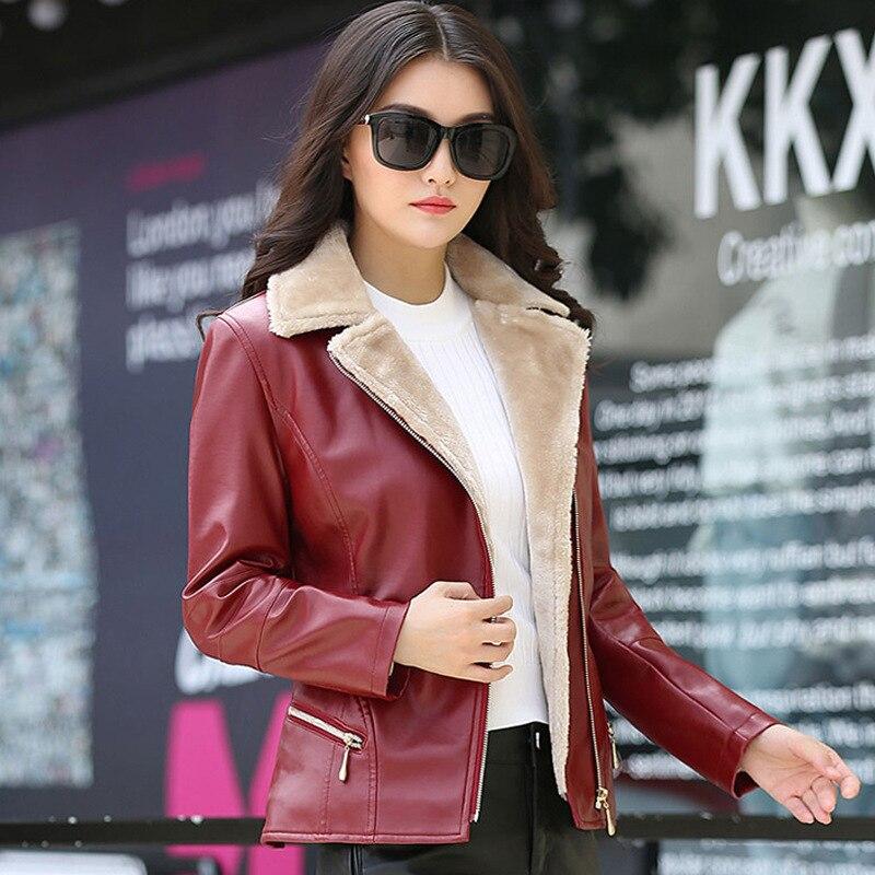 Fashion Turn Collar Office Lady Coat Winter Women   Leather   Jacket Plus Velvet Warm Female Faux   Leather   Jackets Black Red