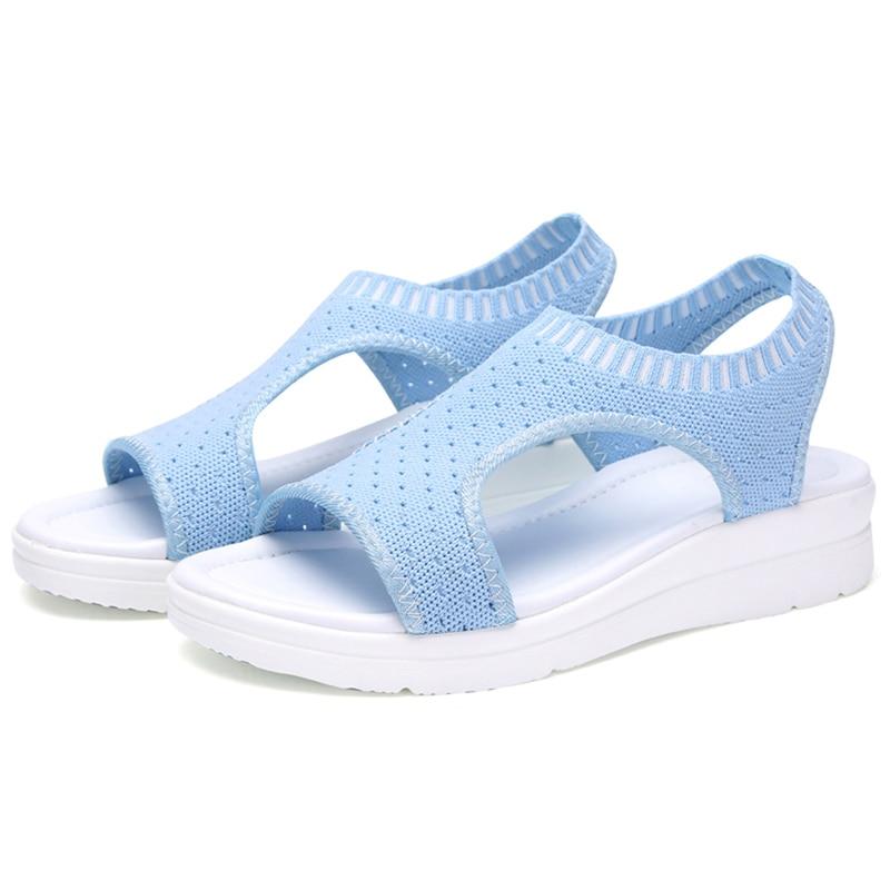 HTB14sfGNgHqK1RjSZFEq6AGMXXaj Wild Elastic Belt Sports Sandals Summer New Women's Shoes Women's Thick Bottom Fish Mouth Mesh Sandals Drop Shipping