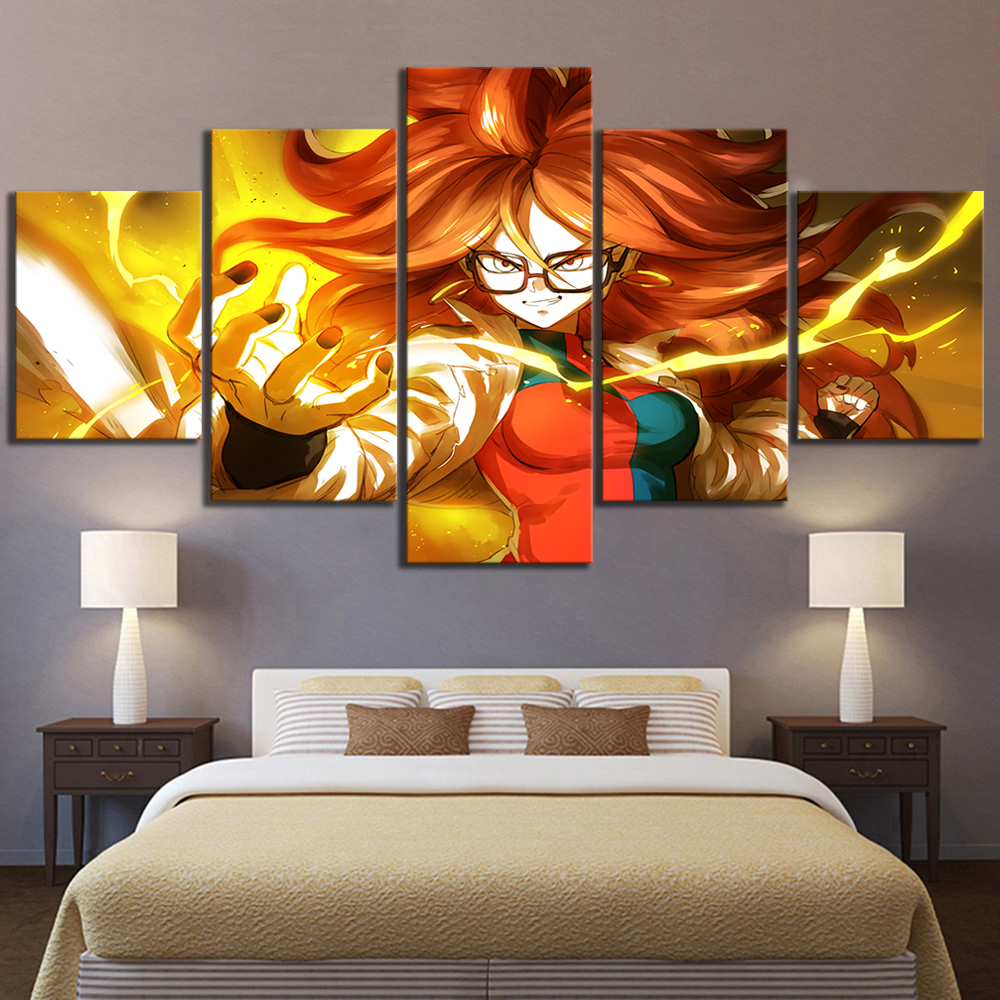 US $13.44 16% OFF|5 Piece Canvas Art Android Dragon Ball Fighter Z Video  Game Poster HD Wall Paintings for Bedroom Decor-in Painting & Calligraphy  ...