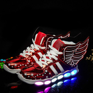 Image 4 - Kích Thước 25 37 Sạc USB Cánh Trẻ Em LED Giày Sáng Trẻ Em Áo Bé Trai & Bé Gái Giày Phát Sáng giày Zapatillas Con Luces