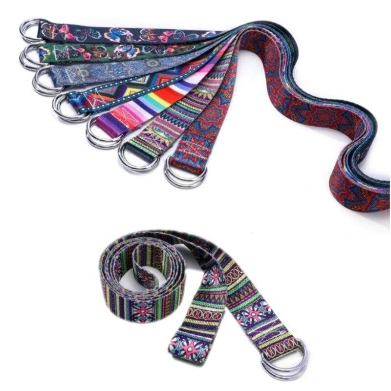 New Printed Yoga Belt Yoga Stretch Belt Washable Stretch Strap D-Ring Belts Yoga Strap Fitness Rope Multi-Colors Yoga Mat Rope