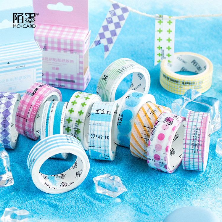 Cute Decorative Deco Bow Rainbow Masking Grid Paper Washi Tape Japanese Stationery Stickers Scrapbooking School Supplies 15 pcs lot cloth adhesive tape masking japanese tape cotton decorative scrapbooking stickers novelty school supplies