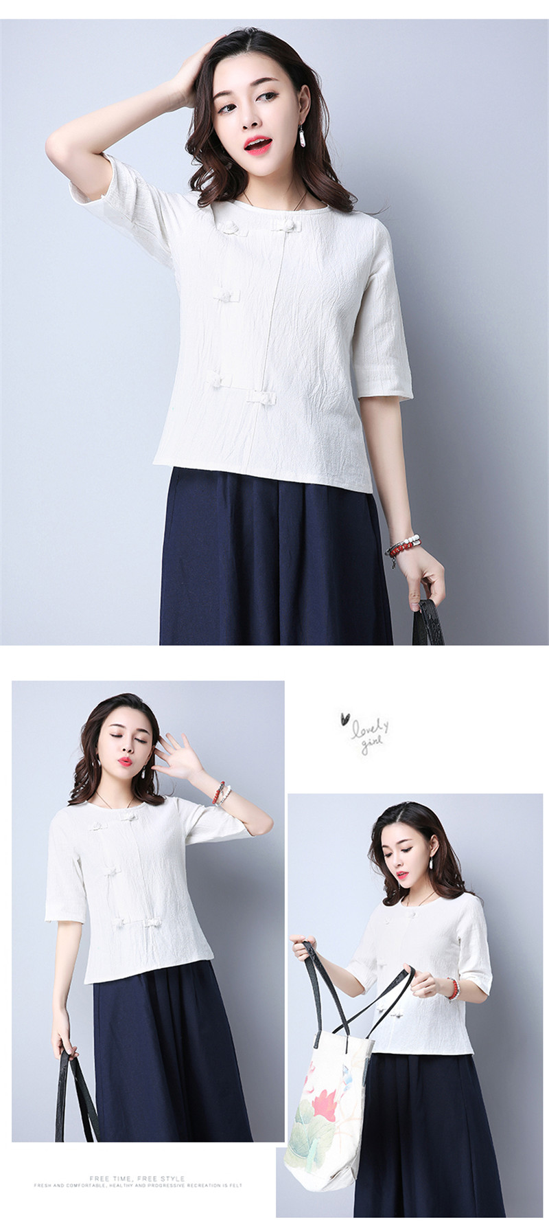 Cotton 2018 Summer Half Sleeve Loose Lady Vintage Women Shirt O Neck Chinese Style Linen T-Shirt Button 3XL 11