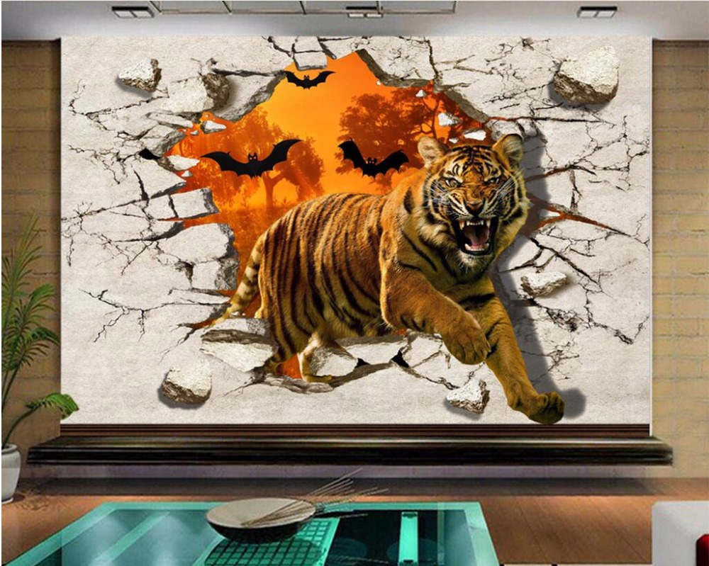 US $14 91 OFF 3d Room Wallpaper Custom Photo Fierce Tiger Broke The Wall Picture Scenery Decor Painting 3d Wall Mural Wallpaper For Walls 3