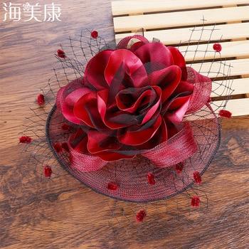 Elegant  Hair Clip Flower Feather Beaded Fascinator 1