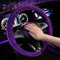 Роскошные прозрачные фиолетовые красные чехлы рулевого колеса автомобиля для женщин и девочек со стразами красные автомобильные чехлы на ...