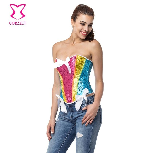 ed549df64da Fashion Rainbow Sequin Corset Corselet Sexy Lingerie Gothic Clothing  Showgirl Burlesque Costumes Victorian Corsets And Bustiers