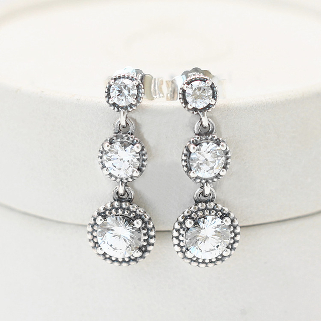 Real 925 Sterling Silver Original Eternal Elegance Pandora Earrings With  Clear Cubic Zirconia For Women Birthday Gift Jewelry