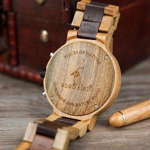 Image 4 - Relogio masculino BOBO VOGEL Uhr Männer Top Luxus Marke Holz Uhren Chronograph Quarz Uhren männer Geschenke Drop Verschiffen