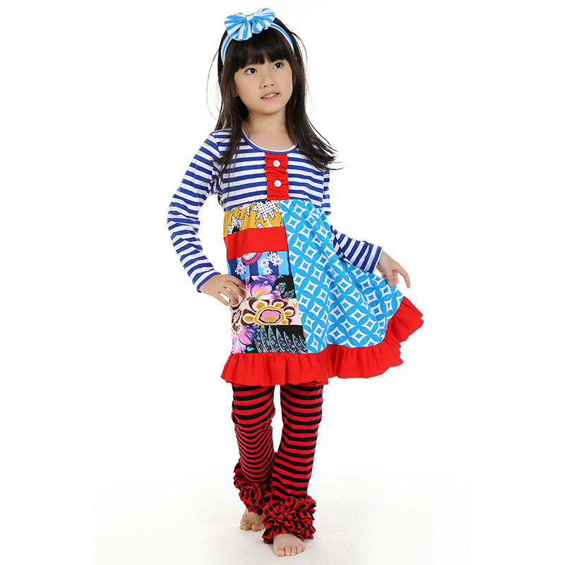 3e993105ffbe7 Spring Fall Girl Clothing Boutique Clothes Set Ruffle Top Dress Leggings  Set Royal Blue Stripe Patchwork Kids Child Clothes Set-in Clothing Sets  from Mother ...