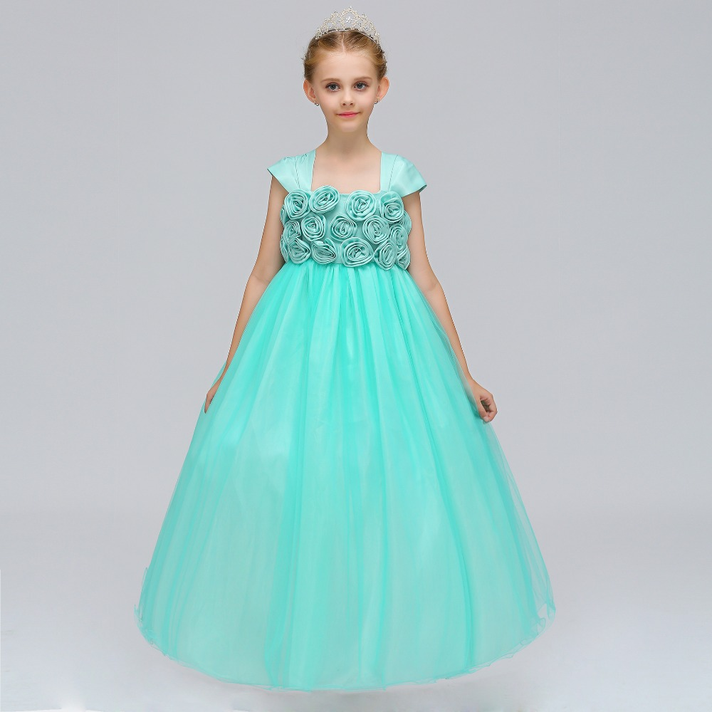 2018 Tulle Party Princess Cap Sleeves Wedding Lace Floor Length Birthday Beaded   Flower     Girl     Dress