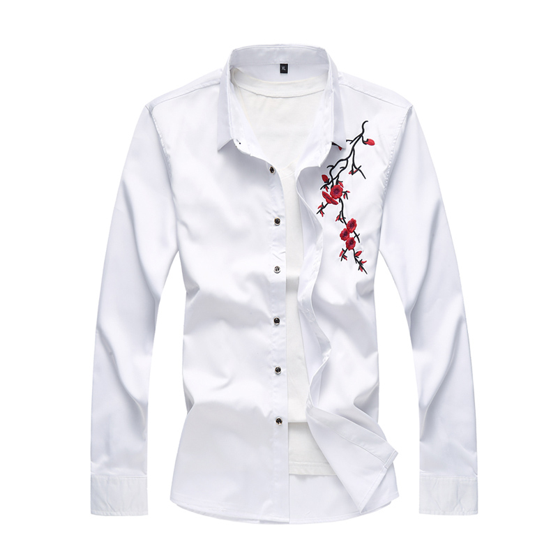 2019 New Fashion White Dress Shirts Clothing Casual Men Shirt Slim Fit Embroidered Floral Long Sleeve Shirts 4XL 5XL 6XL 7XL