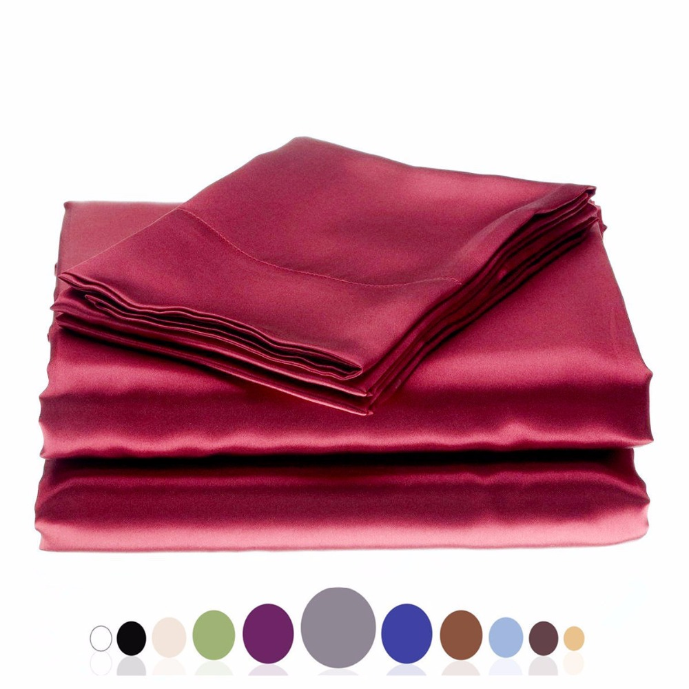 Silky Soft Solid Matte-Satin Bed Sheet Sets Shiny-Free,Deep Pocket