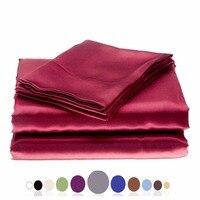 Silky Soft Solid Matte Satin Bed Sheet Sets Shiny Free,Deep Pocket