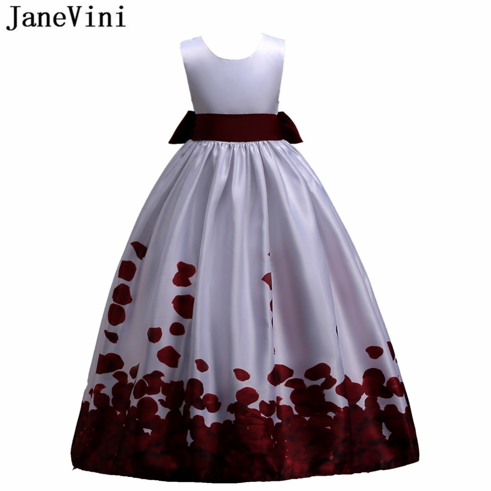 Janevini Burgundy Rose Petals Floral Print Flower Girl Dresses Robe
