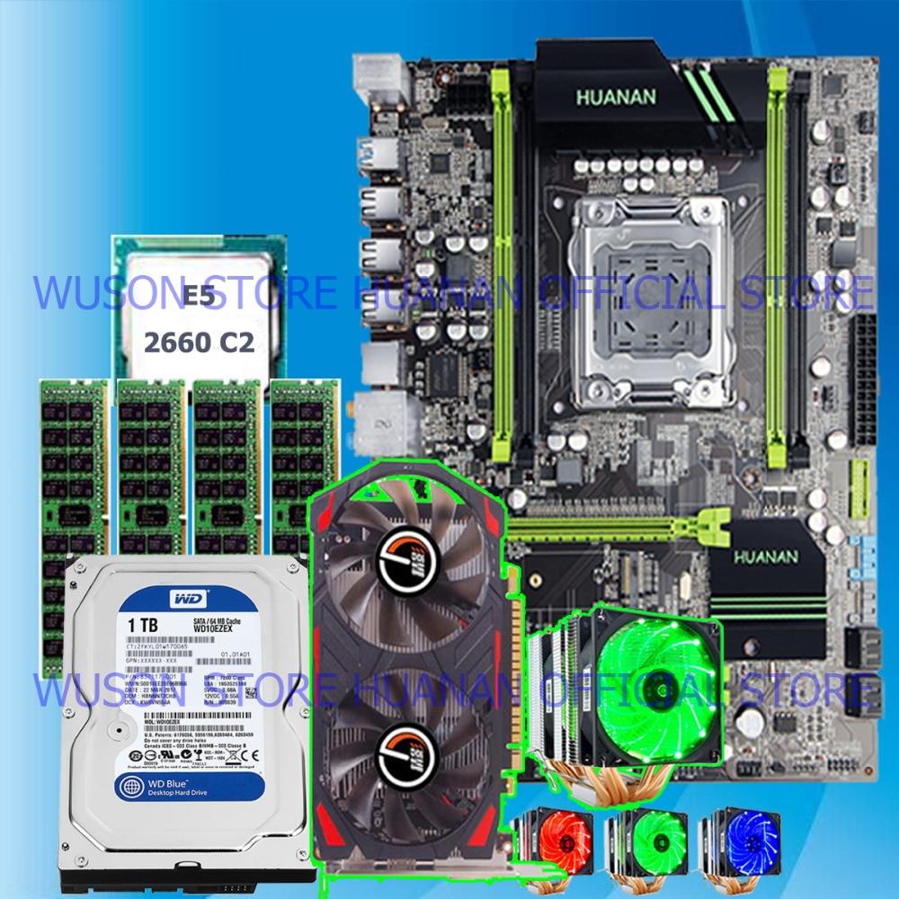 Computer DIY HUANAN X79 motherboard CPU Xeon E5 2660 6 heatpipes cooler RAM 32G(4*8G) DDR3 RECC 1TB 3.5' SATA HDD GTX750Ti 2GD5