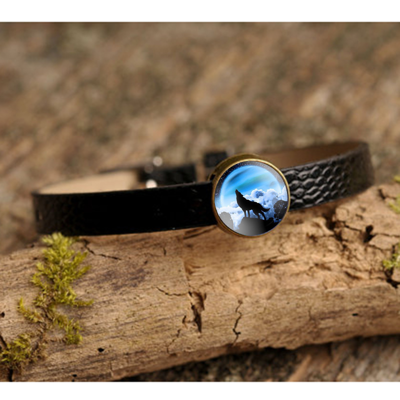 Wolf Charm Bracelet: Glass Cabochon Charm Bracelet Howling Wolf Moon Art