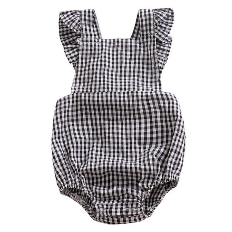 Black White Lattice Print Baby Girl Summer Daddys Girl Bodysuits Onesie Sleeveless Tie Newborn Body Girls Colete Infantil