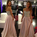 2017 Fashion Sexy Chiffon Crystals Long Wedding Party Dress Bridesmaid Formal Dresses robe demoiselle d'honneur