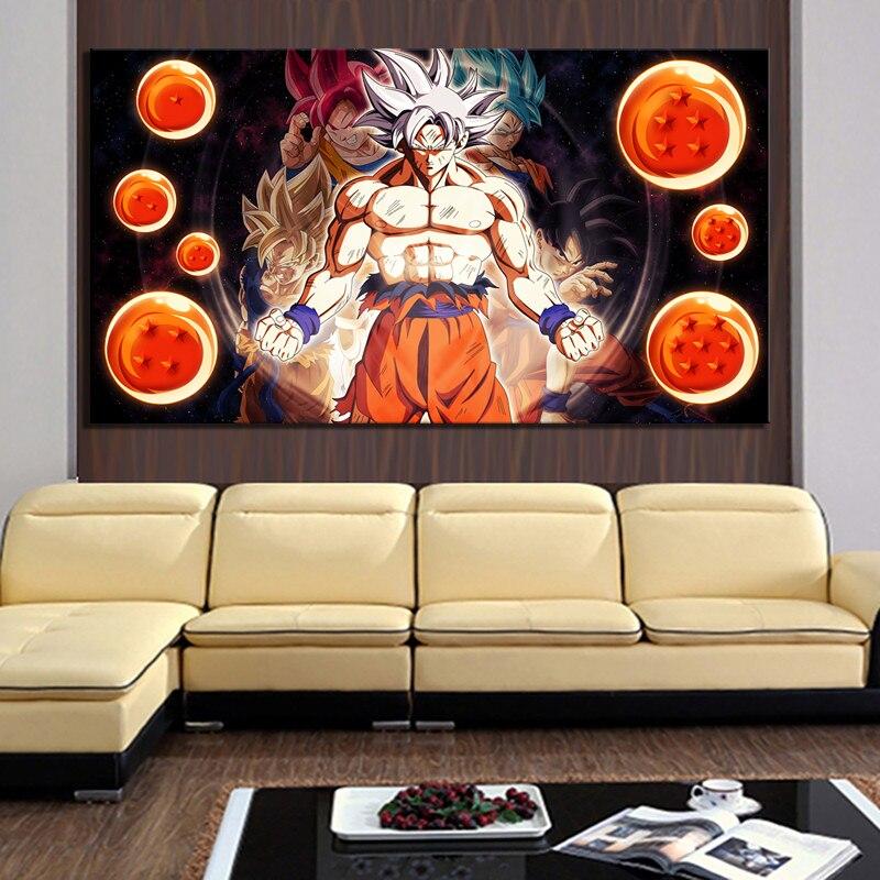 1 Stuk Hd Anime Poster Schilderij Dragon Ball Super Ultra Instinct Goku Foto 's Vegeta Poster Schilderij Voor Home Decor Art Rijden Met Een Brullende Handel