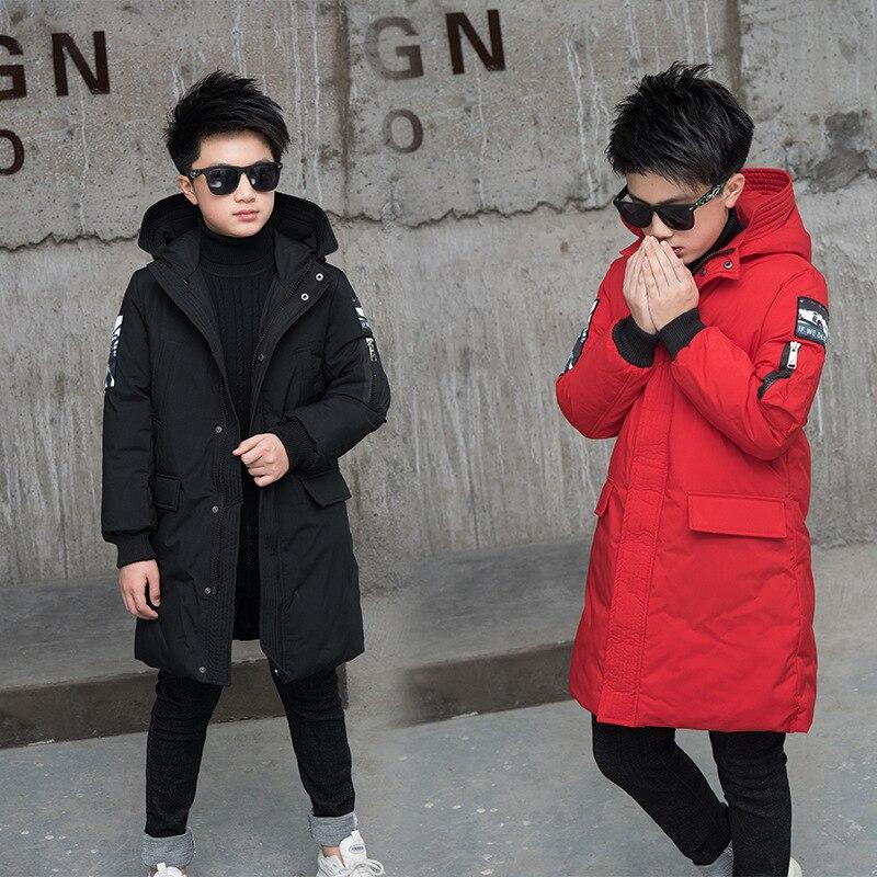 -30 stopni kurtka zimowa dla dzieci kurtki zimowe dla dzieci 2019 duzi chłopcy Warm Down bawełniany płaszcz z podszewką pogrubienie odzież wierzchnia
