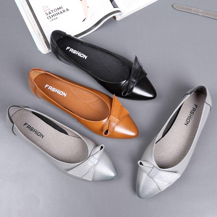 Chaussures de femme en cuir véritable de bonne qualité, résistantes et antidérapantes, à bout pointu, légères et douces, chaussures de bureau pour femmes