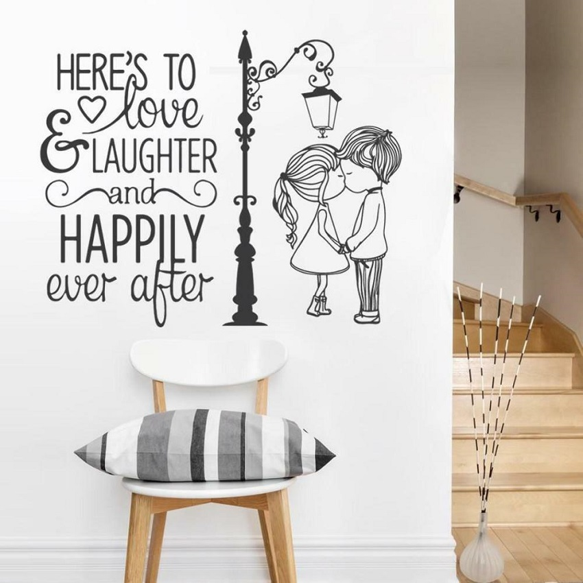 US $5 59 20% OFF|Classic Wall Sticker Quote Love and Laughter Couple Vinyl  Decal Art Mural Room Decor Home Decoration-in Wall Stickers from Home &