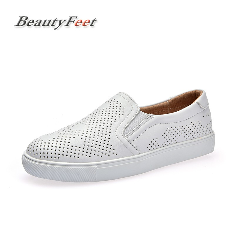 BeautyFeet 2018 Spring Women Leather Loafers Fashion Ballet Flats White Black Shoes Woman Slip on Loafers Boat Shoes Moccasins girls fashion punk shoes woman spring flats footwear lace up oxford women gold silver loafers boat shoes big size 35 43 s 18