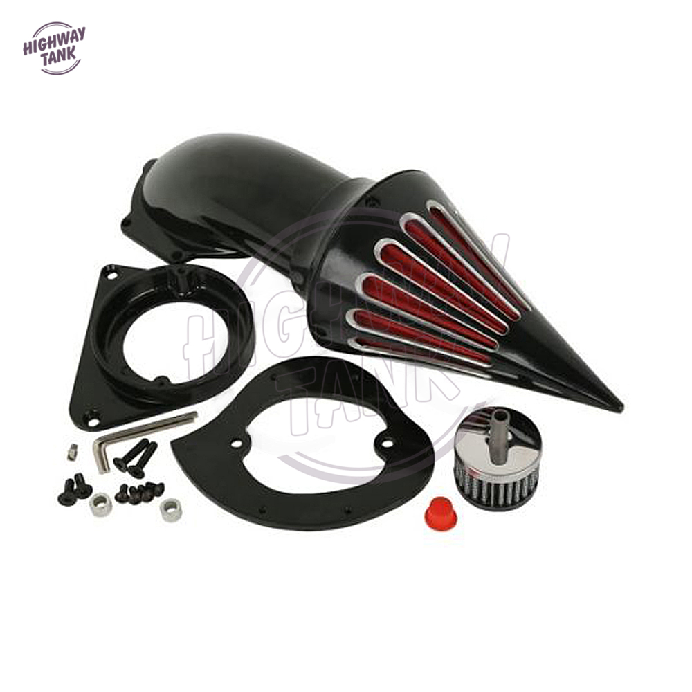 Black Motorcycle Spike Air Cleaner Intake Filter Kit case for Kawasaki VN800A VN 800 Classic 1995-Up 1996 1997 1998 1999 2000 chrome spike air cleaner kit intake filter for 1998