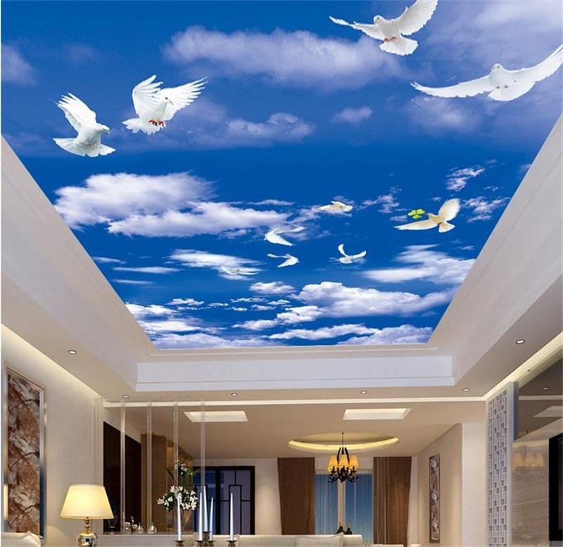3d ceiling murals wallpaper custom photo non-woven blue sky white clouds dove painting 3d wall mural wallpaper for living room free shipping 3d sky showroom wooden bridge living room walkway non slip self adhesive wear floor wallpaper mural