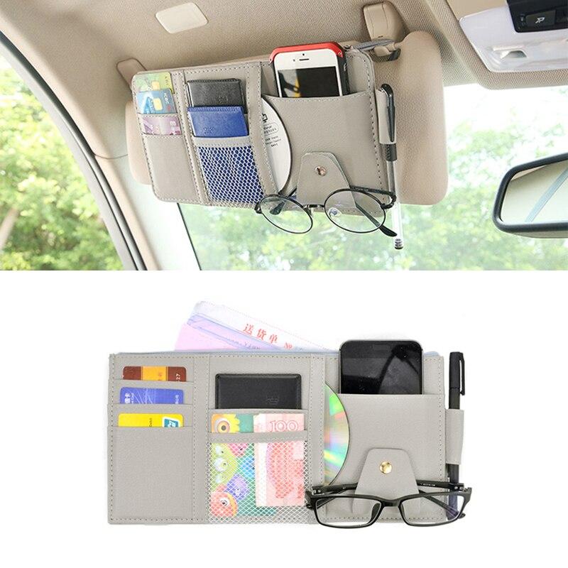 Leather car sun visor organizer for credit card sunglasses pen clip sun shield storage bag CD holder auto interior accessories(China)