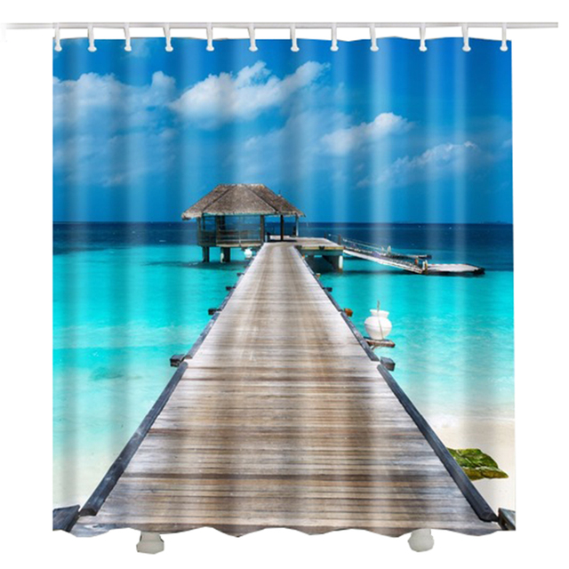 Ocean Beach Shower Curtain For The Bathroom Waterproof Wooden Bridge Rideau Blue Sky Sea