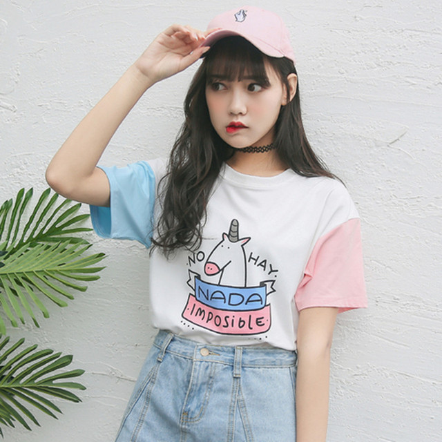 2019 Summer Women Tops Korean Style Harajuku Cartoon Unicorn Cute Spell  Color Short Sleeve Casual Loose