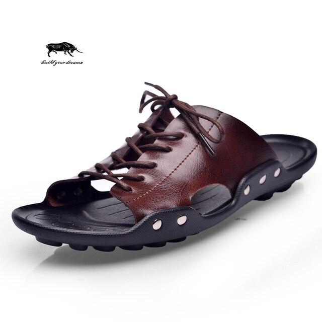 Лето прилив мужские тапочки Британские мужчины моды сандалии подлинная кожа коровы ленивые пляжные сандалии вьетнамки мужчины летняя обувь