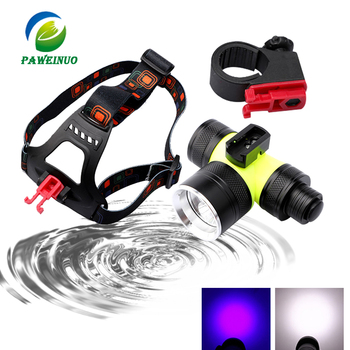 Double wick diving flashlight torch xml t6 led headlamp underwater light 18650 26650 battery rechargeable headlight lamp uv sitemap 165 xml