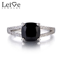 Leige Jewelry 925 Sterling Silver Natural Black Spinel Ring Gemstone Cushion Cut Promise Rings For Women