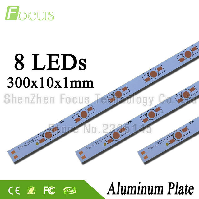 1 W 3 W 5 W LED placa Base de aluminio 300mm PCB tablero disipador de calor DIY para 8 16 24 32 40 48 56 64 72 80 W Watt cuentas de luz