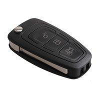 3 Buttons Replacement Keyless Entry Fob Flip Folding Remote Key 433MHz 4D63 Chip For FORD Focus