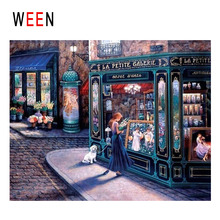 WEEN Night Street Diy Painting By Numbers Abstract Girl Shopping Oil On Canvas Cuadros Decoracion Acrylic Home Decor