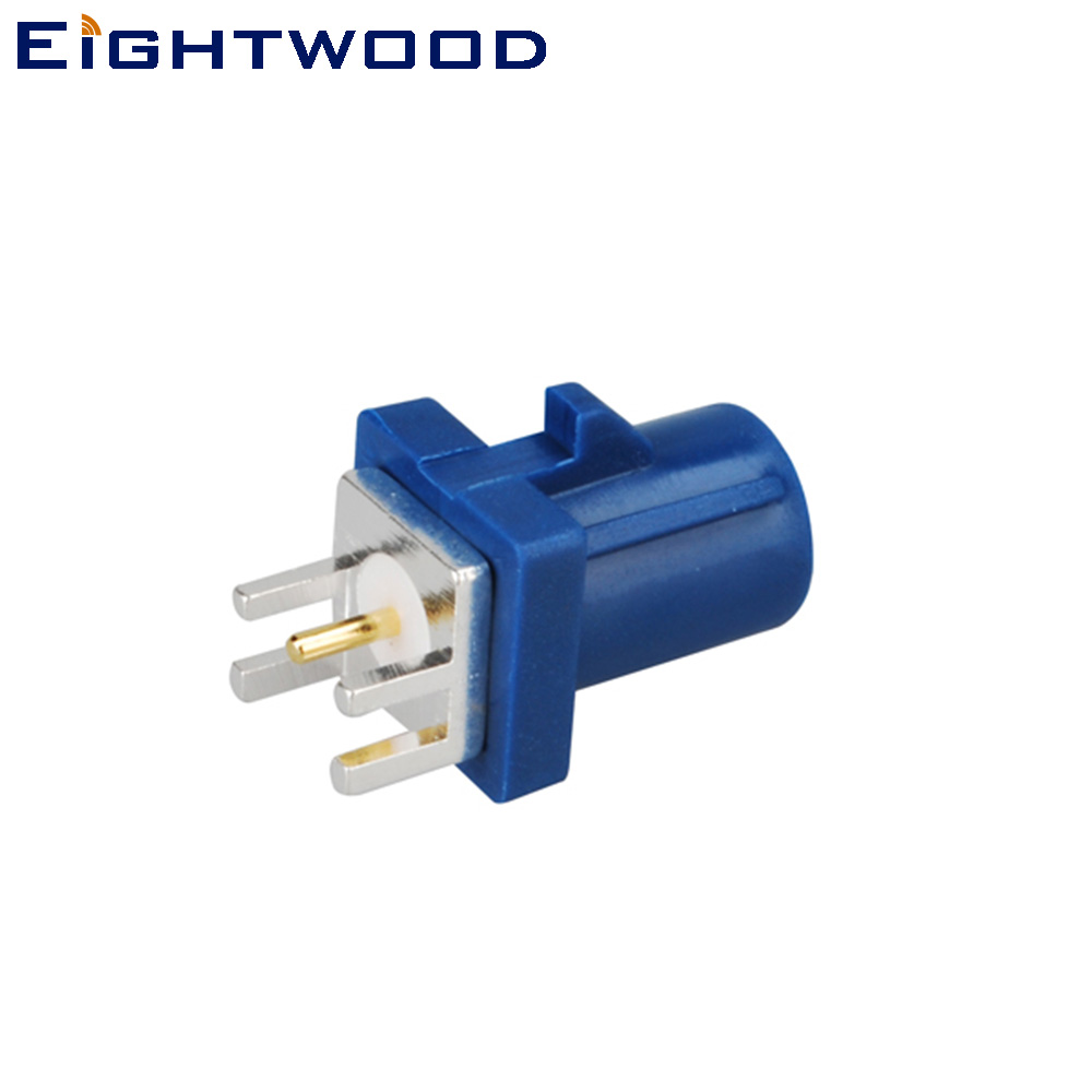 Eightwood <font><b>Fakra</b></font> C Plug Male RF Coaxial Connector End Launch PCB Mount Straight Blue/5005 Coding for <font><b>GPS</b></font> Telematics or Navigation image