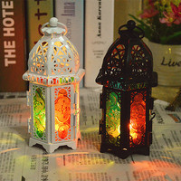 2017 New Arrival Decorative Moroccan Colored Glass Castle Candle Holder Hanging Lantern Vintage Candlesticks Home Decoration