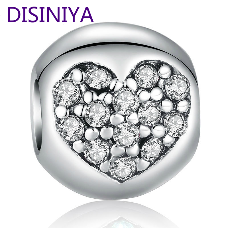 DISINIYA 925 Silver Love Of My Life Heart Pink CZ Charm Fit Bracelet Necklace Accessories Bead Jewelry Making PA5283 in Beads from Jewelry Accessories