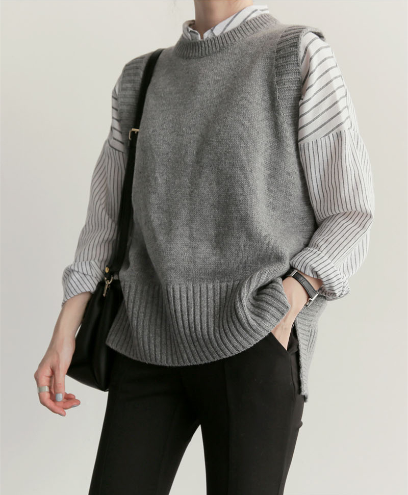 Knitted Vest New Office Lady Gray Casual 2018 Spring Autumn Women Vest Wool Sweater Vests Poullovers Sleeveless Female Vest
