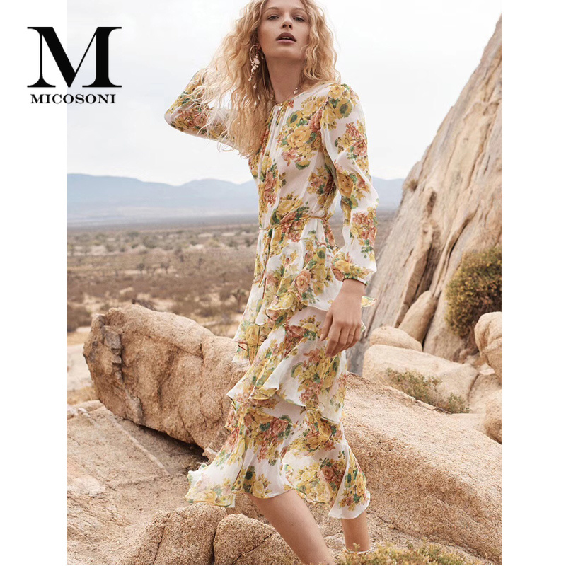 High Quality Fashion Summer NEW Design Tiered Ruffle Irregular Floral Print Pure Silk Party Dresses Long Sleeve Yellow Dresses