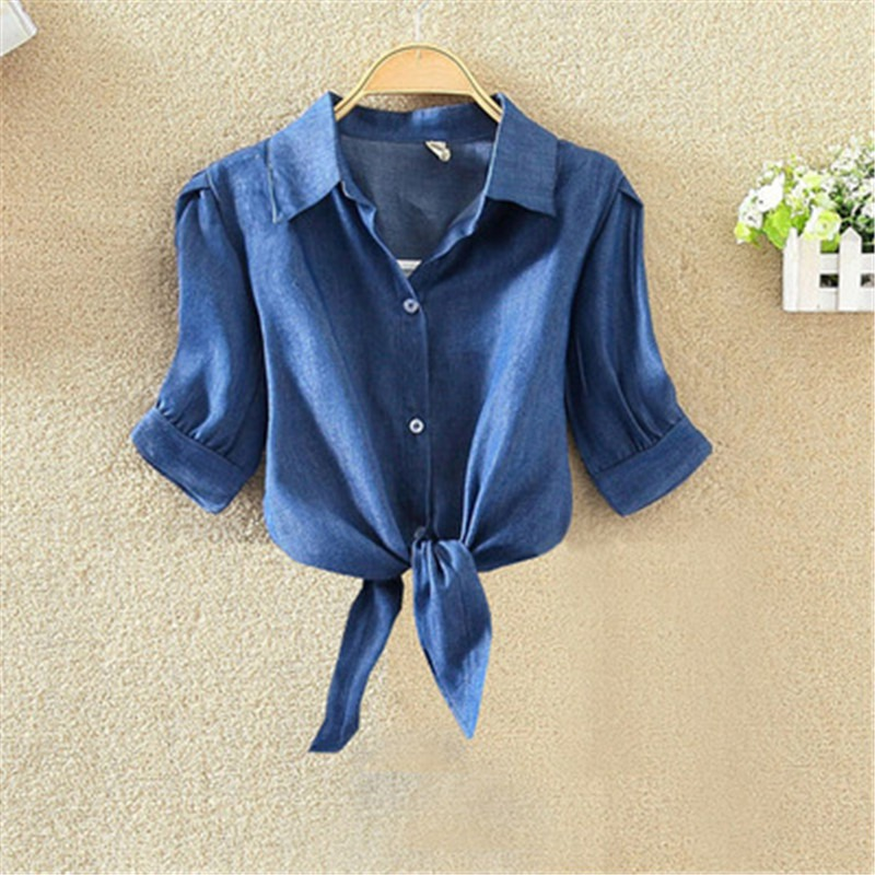 Navy Blue   Shirts   women Knot Front Crop Womens Tops and   Blouses   Button Summer   Blouse   Clothing
