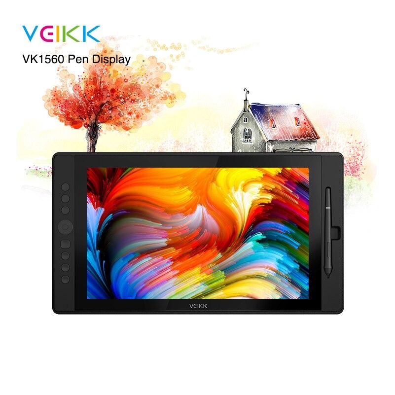 VEIKK VK1560 15,6 pulgadas lápiz de dibujo pantalla IPS Monitor de dibujo con 8192 niveles Pluma sin batería