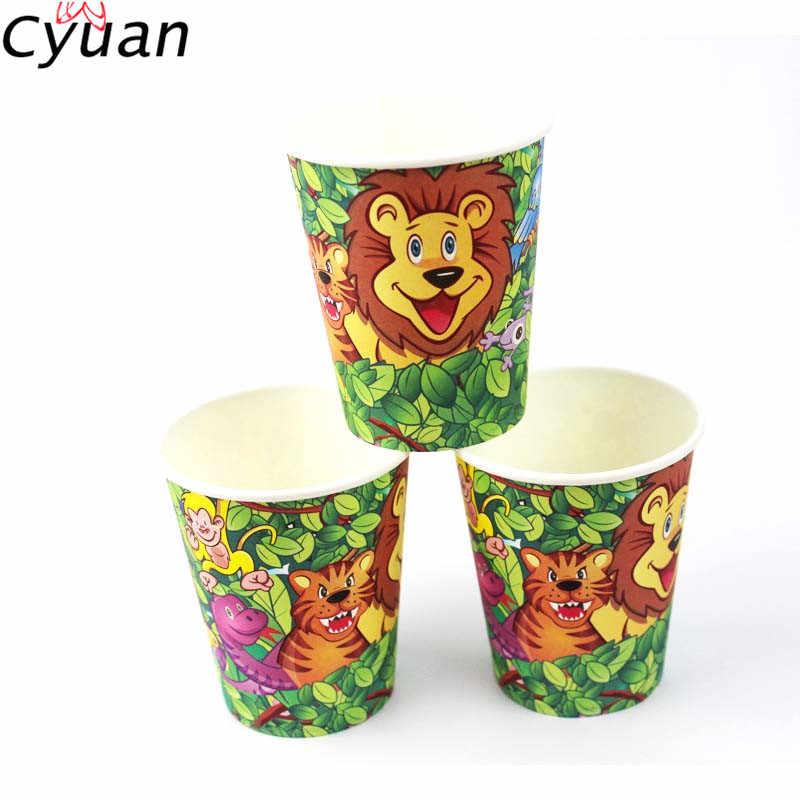 Cyuan Jungle вечерние одноразовые салфетки под чашки для обедов бумажные блюда на день рождения для мальчиков и девочек декор для детского душа в стиле сафари