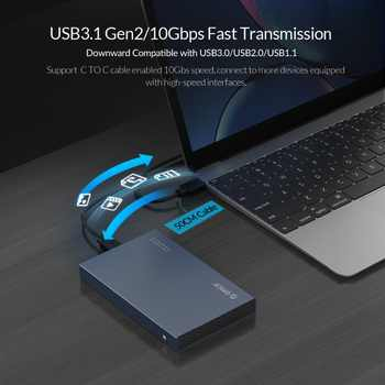 ORICO 2.5\'\' Type-C HDD Case Aluminum Alloy USB3.1 Gen2 Hard Drive Enclosure Support 7mm & 9.5mm With 50cm C to C Cable