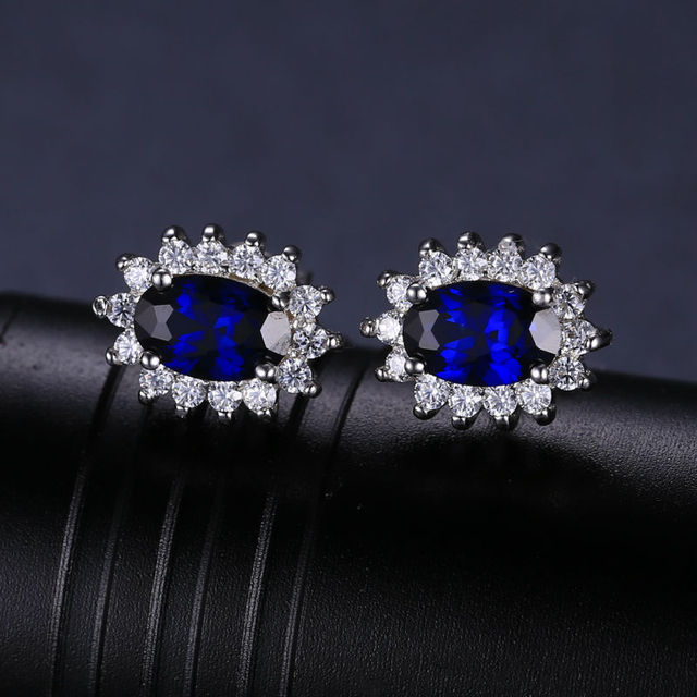 JewelryPalace 1.5ct Oval Blue Sapphire Earrings Stud 925 Sterling Silver Fashion Princess Diana Engagement Wedding Accessories